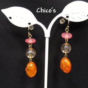 Chico's Orange Clear Pink Gold Long Drop Earrings